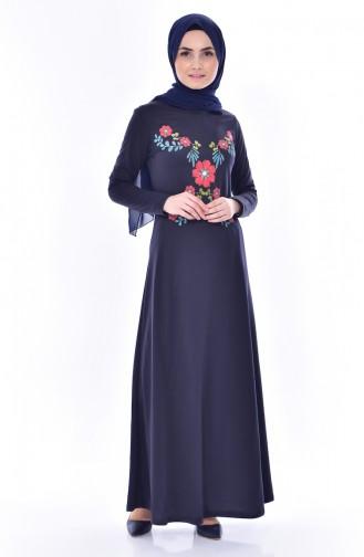 Baskılı Elbise 7934-05 Lacivert
