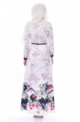 Robe a Motifs Fleurs 2911-02 Plum 2911-02