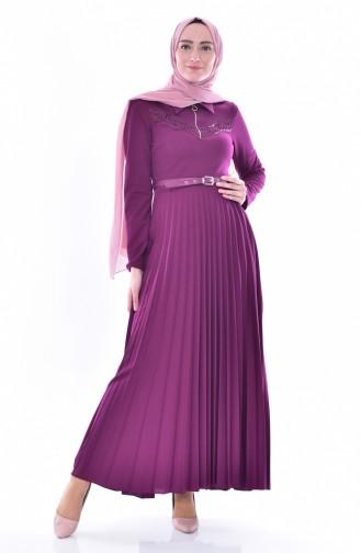Gefaltetes Kleid mit Gürtel 0543-01 Zwetschge 0543-01
