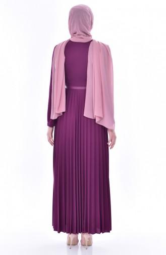 فستان بتصميم حزام للخصر وطيات يتميز بتفاصيل من الدانتيل  0543-01