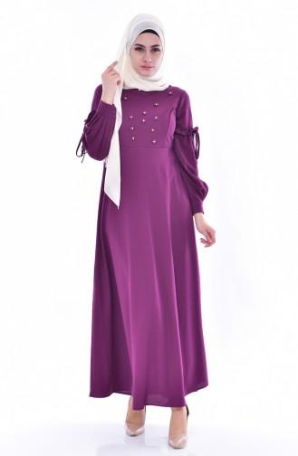 Kleid mit Perlen 0545-03 Zwetschge 0545-03