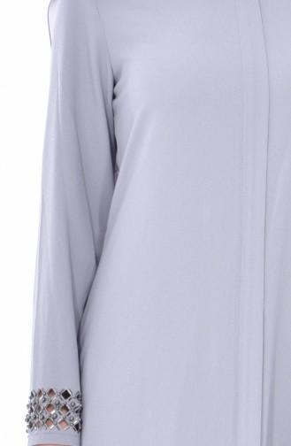 Abaya Perlées Coupe Laser 35839-01 Gris 35839-01