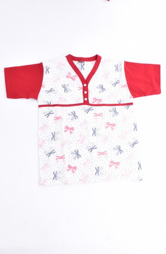 Patterned Women´s Pajamas Suit 1020-04 Red 1020-04