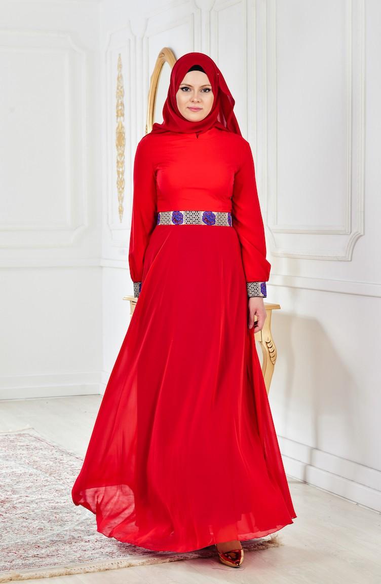 c418392d257cf Red Islamic Clothing Evening Dress 2649-01