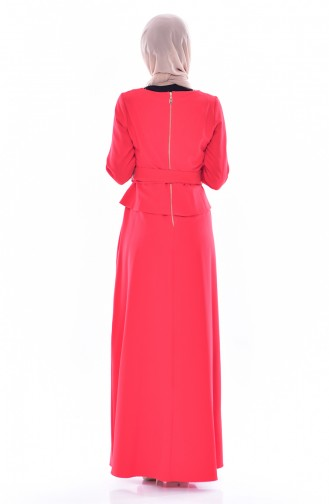 Kleid mit Brosche 2236-03 Rot 2236-03