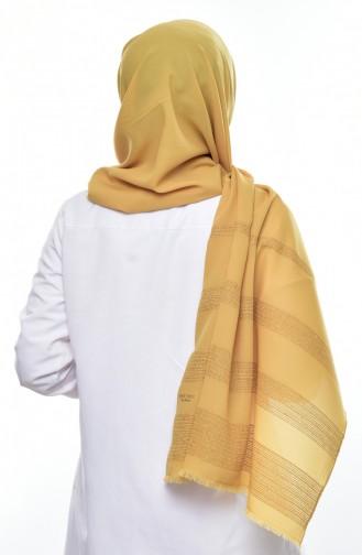 Sim Şeritli Şifon Şal 60064-04 Koyu Sarı