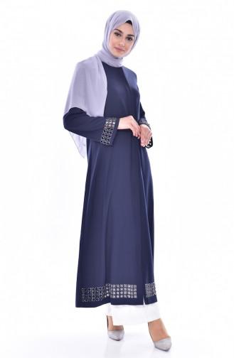 Abaya Perlées Coupe Laser 35839-02 Bleu Marine 35839-02