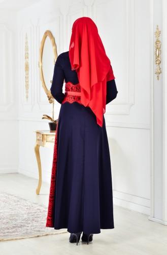 Kleid mit Spitzen 2314-04 Dunkelblau 2314-04