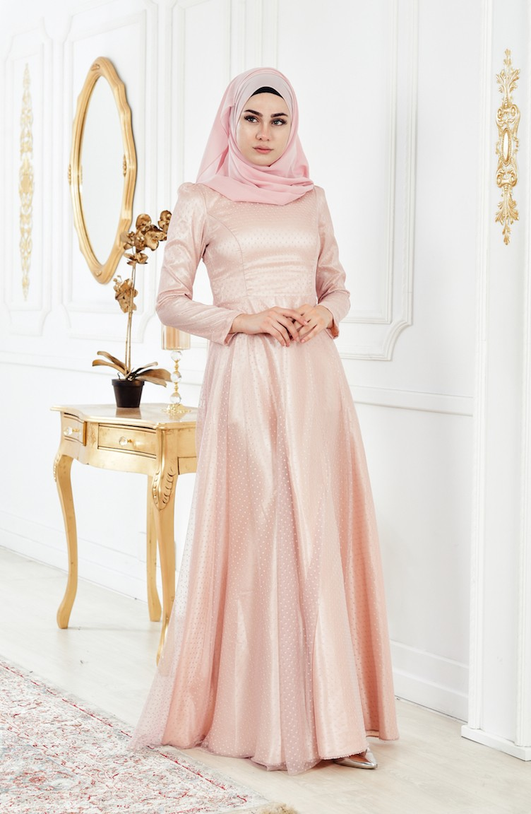 be8a55665928e Powder Islamic Clothing Evening Dress 0011-01 ...