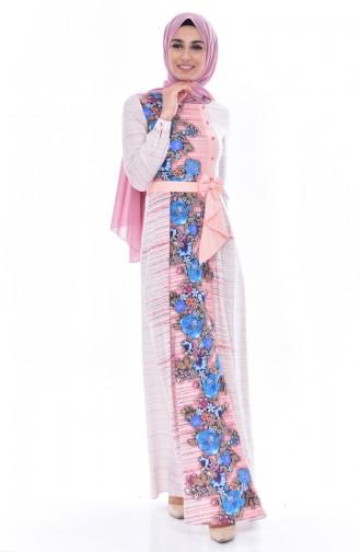 Robe a Motifs Fleurs 2910-01 Poudre 2910-01