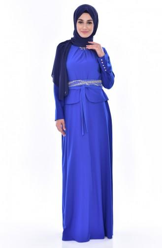 Robe a Ceinture et Broche 2236-05 Bleu Roi 2236-05