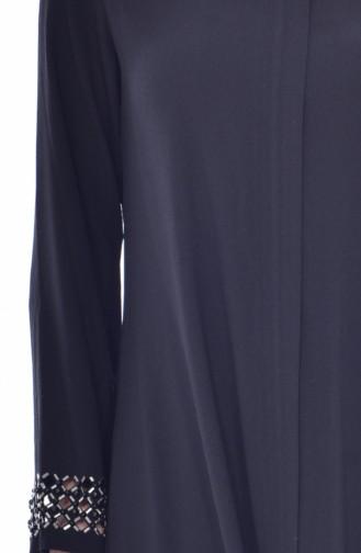 Abaya Perlées Coupe Laser 35839-03 Noir 35839-03