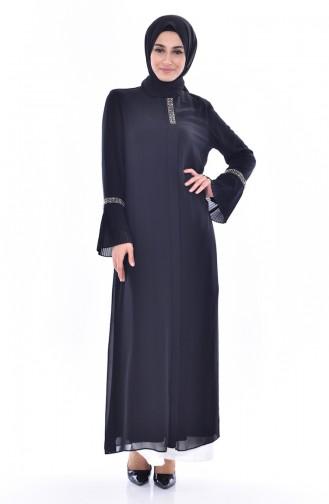 Perlen Abaya mit Reißverschluss 35845-01 Schwarz 35845-01