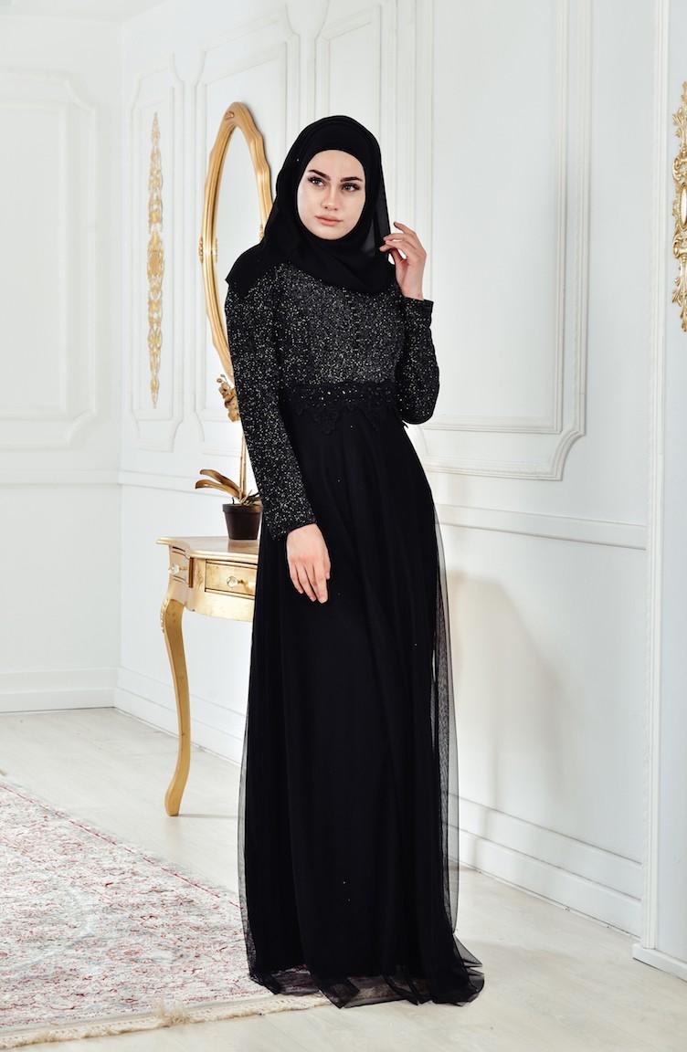 8dffdfc95 فساتين سهرة بتصميم اسلامي أسود 8160-02