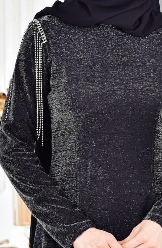 Robe a Paillette 0553-02 Noir 0553-02