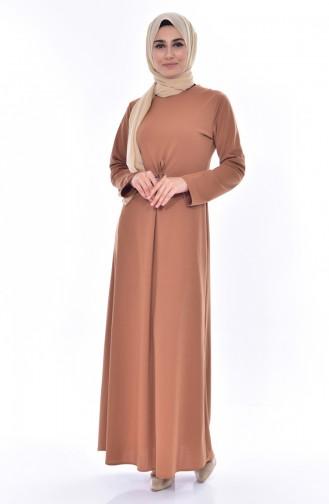 Buglem Belt Detailed Dress 1152-06 Tobacco 1152-06