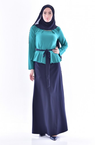 Blouse Skirt Double Suit  2200-05 Green 2200-05