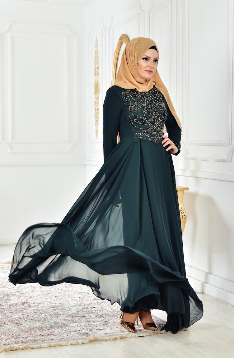 1033068823848 فستان شيفون بتفاصيل من الدانتيل والخرز المرصع 52698-07