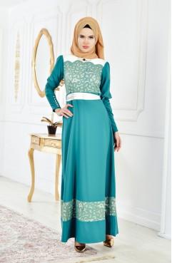 1ee41417c Dantelli Abiye Elbise 2274-01 Yeşil