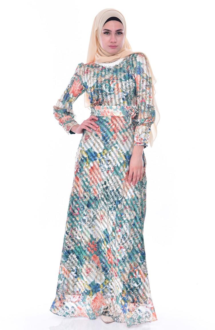 6b763ce7d1e8c Çiçek Desenli Şifon Elbise 2319-03 Yeşil