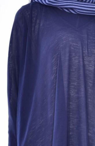 تونيك بتصميم أكتاف واسعة 40014-02 لون كحلي 40014-02