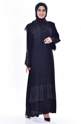 Dantelli Abaya 0180-01 Siyah