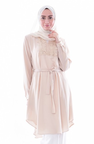 Laced Belted Tunic 0937-03 Beige 0937-03