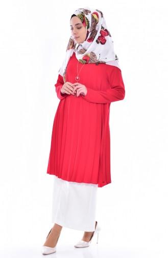تونيك بتصميم طيات 1077-01 لون احمر 1077-01