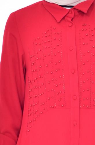 تونيك غير مُتماثل الطول بتفاصيل من اللؤلؤ 1083-03 لون احمر 1083-03