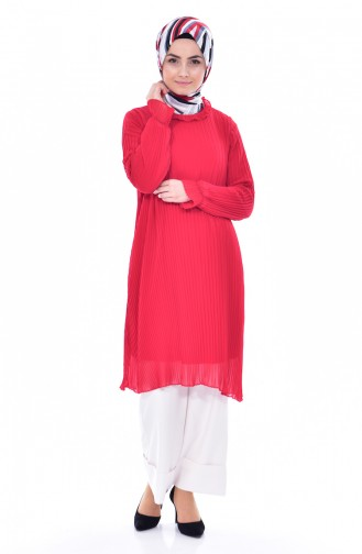 Piliseli Tunik 1106-05 Kırmızı