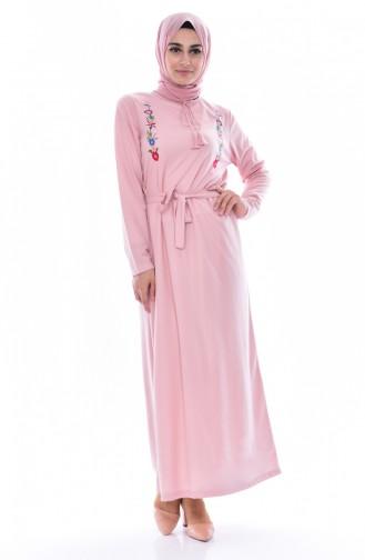 Kleid mit Stickerei 3849-08 Puder 3849-08