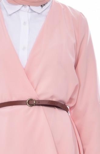 معطف بتصميم حزام للخصر 0037-02 لون مشمشي 0037-02