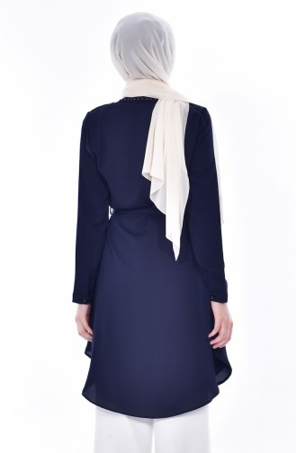 Laced Belted Tunic 0937-04 Navy 0937-04