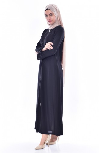 Fermuarlı Ferace 3045-01 Siyah