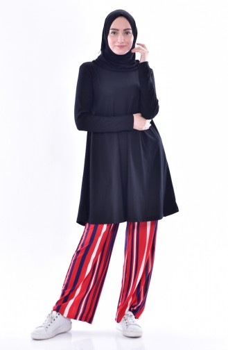 YNS Striped Tunic Pants Double Suit 3848-01 Black 3848-01