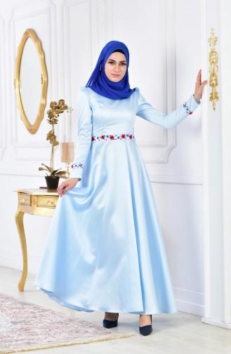 Embroidered Taffeta Evening Dress 0406-01 Baby Blue 0406-01