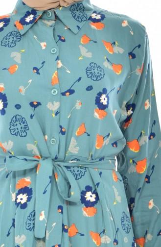 Lange Tunika mit Blumen Muster 3876-04 Mandel Grün 3876-04