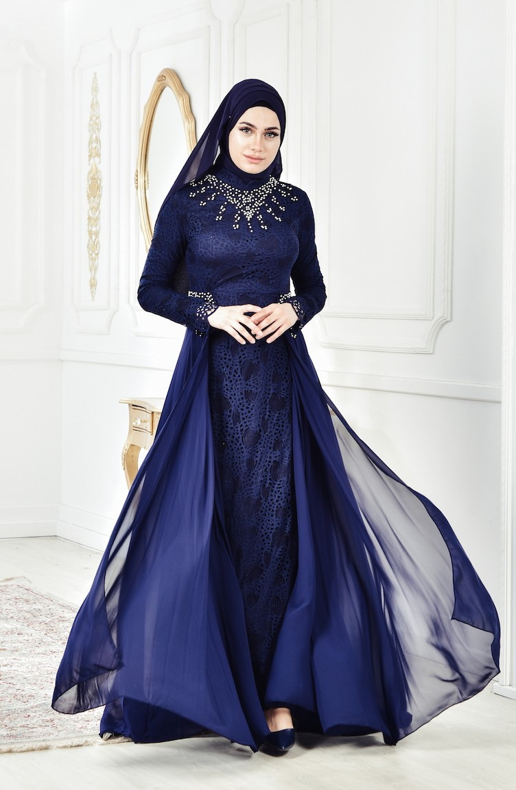 cd117641e709f فستان سهرة يتميز بتفاصيل من الؤلؤ 8105A-02 لون كحلي 8105A-02