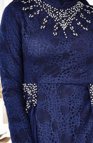 Robe de Soirée Perlées 8105A-02 Bleu Marine 8105A-02