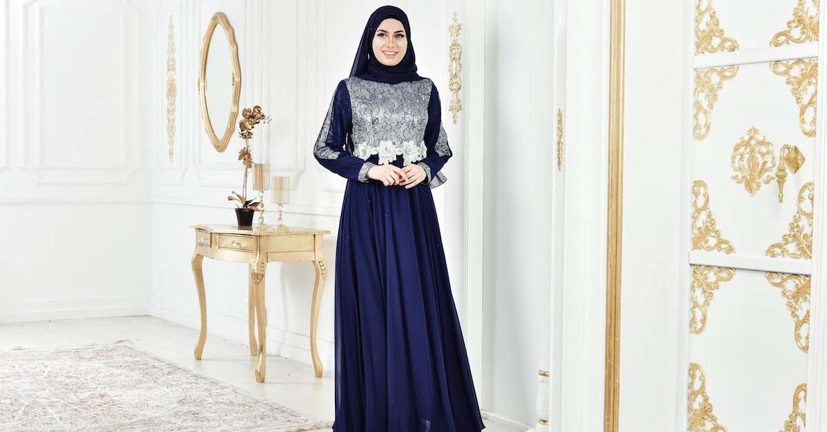 aaa6db2ca0ccb فستان سهرة بتفاصيل لامعة 8143-04 لون كحلي 8143-04