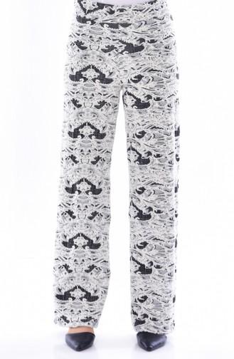Pantalon a Motifs 4028-01 Ecru Noir 4028-01