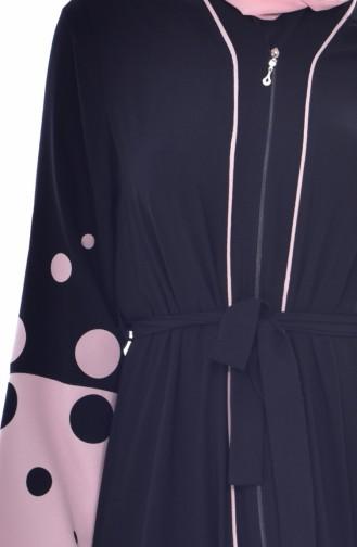 Abaya a Fermeture et Pointillée 7808-01 Noir Poudre 7808-01