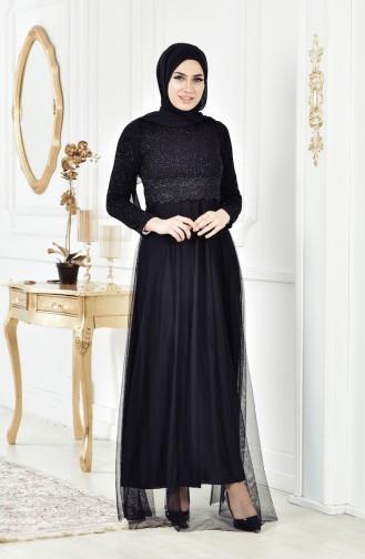 فساتين سهرة بتصميم اسلامي أسود 3840-07