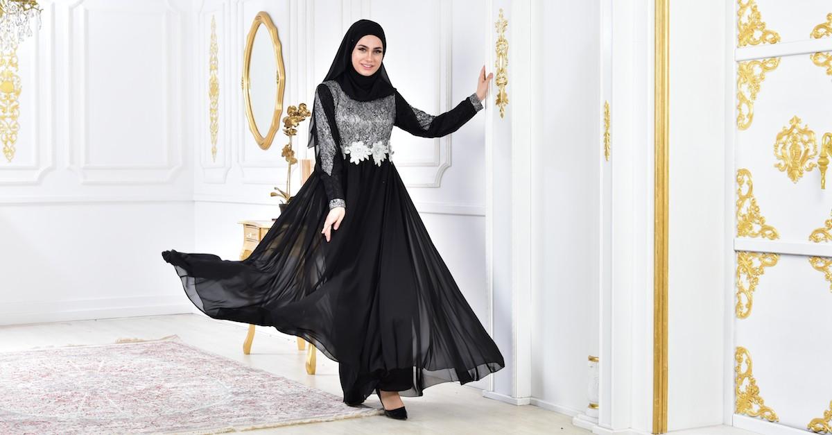 a117abc07e111 فستان سهرة بتفاصيل لامعة 8143-02 لون اسود 8143-02