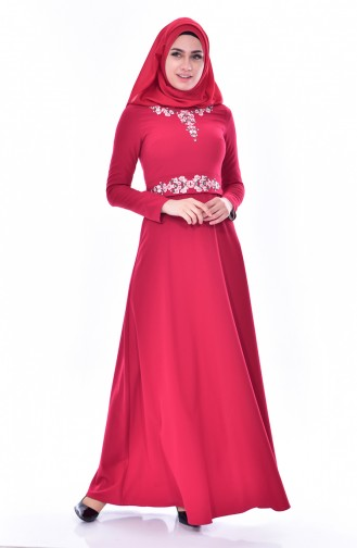 Embroidered Belted Dress 2770-02 Claret Red 2770-02