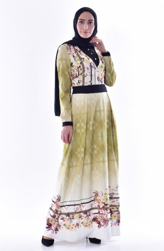 Desenli Elbise 2902-03 Fıstık Yeşili 2902-03