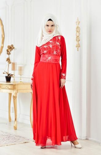 Red İslamitische Avondjurk 1001-02