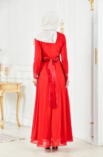 Robe de Soirée İmprimée de Pierre 1001-02 Rouge 1001-02