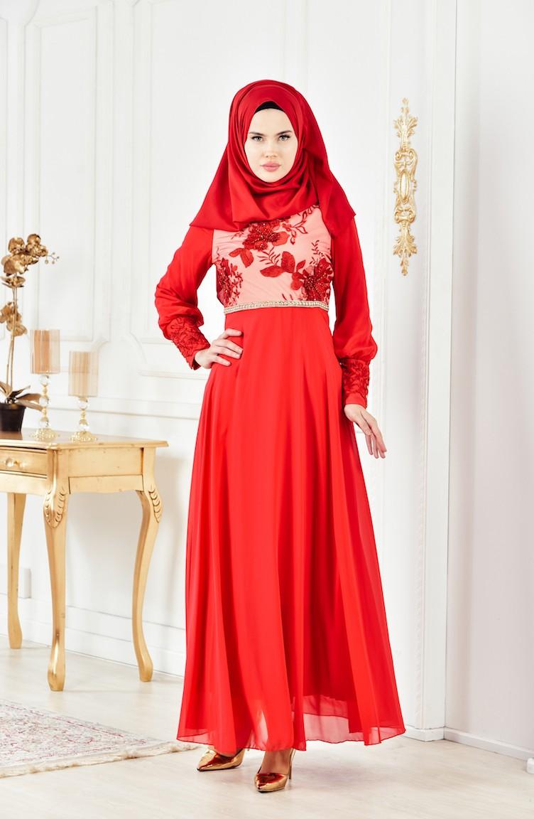 d2b8058282032 Dantelli Abiye Elbise 2299-01 Kırmızı