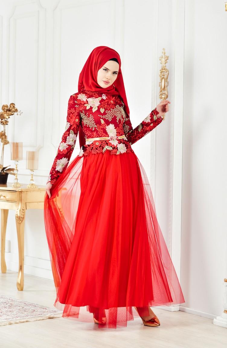 4050c502c9 Red Islamic Clothing Evening Dress 2717-01